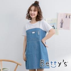 betty's貝蒂思 圓領拼接短袖