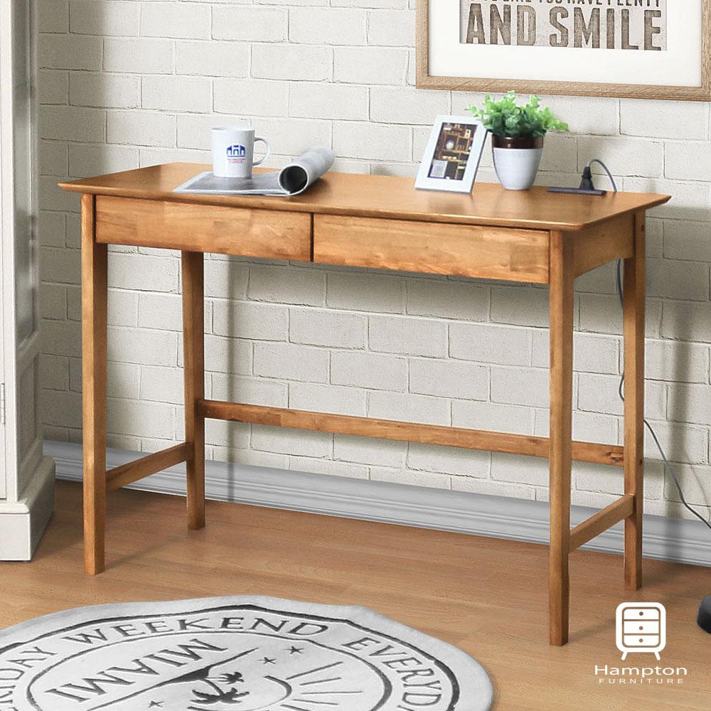 漢妮Hampton凱恩實木雙抽小書桌-原木色-105x45x75cm