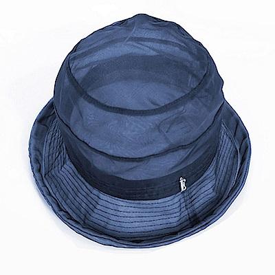 ELLE法式浪漫桑蠶絲輕量遮陽帽清涼防曬女帽_藍/駝