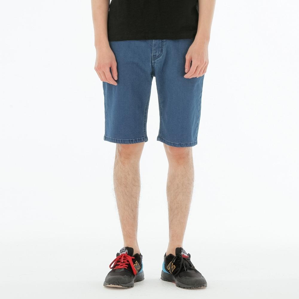 BIG TRAIN 墨達人針織丹寧短褲-男-深藍