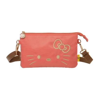 【Hello Kitty】經典凱蒂-雙層萬用包-粉橘 FPKT0D003CR