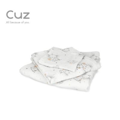 Cuz 甜心小象(紗布巾/方巾/嬰兒包巾)-115cm