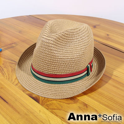AnnaSofia 兒童用三色帶 遮陽防曬爵士帽紳士帽草帽(駝系)