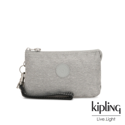 Kipling 清新柔和丹寧灰三夾層配件包-大-CREATIVITY XL