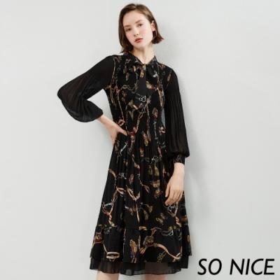 SO NICE優雅綁結鎖鏈印花洋裝