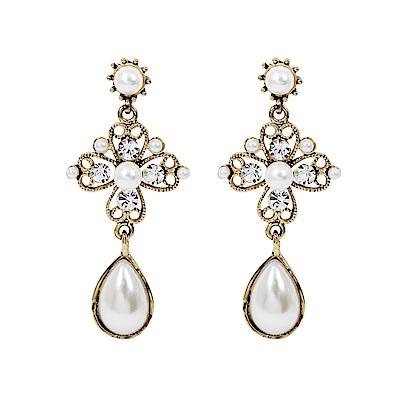 Prisme美國時尚飾品 復古珍珠 金色耳環 耳針式