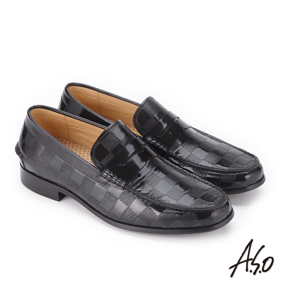 A.S.O 3D超動能 鏡面牛皮扣帶奈米紳士鞋 黑