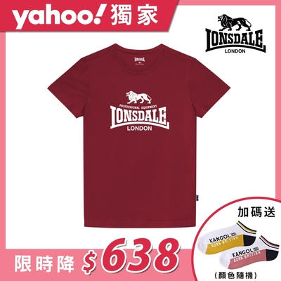 【LONSDALE 英國小獅】經典LOGO短袖T恤-暗紅LT001