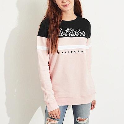 海鷗 Hollister HCO 經典標誌長袖大學T恤(女)-黑粉色