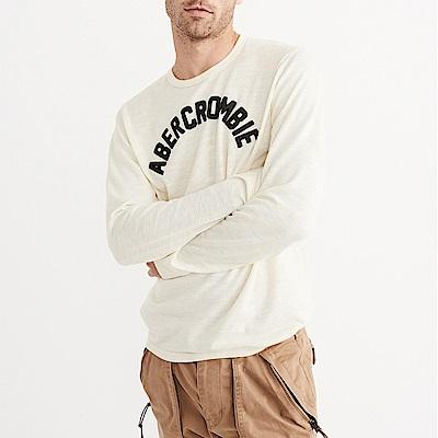 麋鹿 AF A&F 經典文字設計長袖T恤-米白色