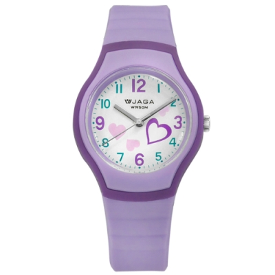 JAGA 捷卡 運動休閒 愛心指針 防水50米 橡膠手錶-白x紫/32mm