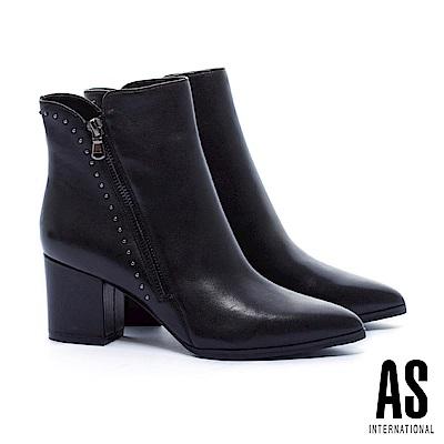 短靴 AS 率性魅力鉚釘排列全真皮尖頭高跟短靴-黑