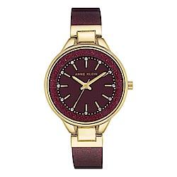 Anne Klein 紐約時尚流沙金紅玻麗腕錶-暗紅色x32mm AK-1408BYBY