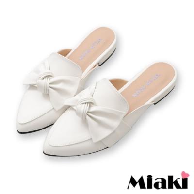 Miaki-穆鞋鞋可愛蝴蝶尖頭平底鞋-白