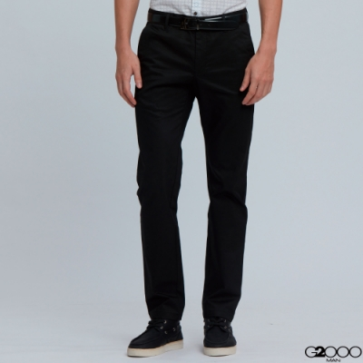 G2000平紋休閒斜袋長褲-黑色