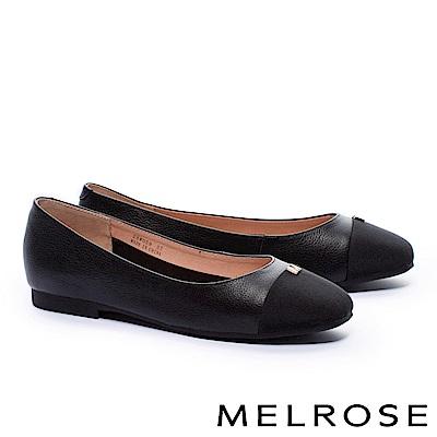 平底鞋 MELROSE 經典撞色異材質拚接金屬M字釦牛皮平底鞋-黑