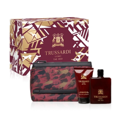 *TRUSSARDI 尊爵紅男性淡香水禮盒(香水100ml + 100ml 沐浴組+包包)-2947