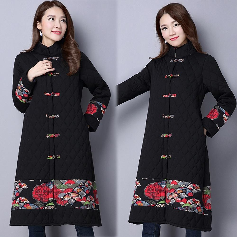 【韓國K.W.】(預購)中國風格紋立領鋪棉外套-3色 product image 1