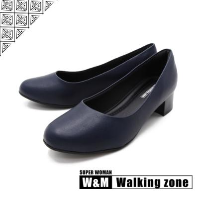 WALKING ZONE SUPER WOMAN系列 圓頭素面低跟上班鞋 女鞋- 藍(另有黑.卡其)