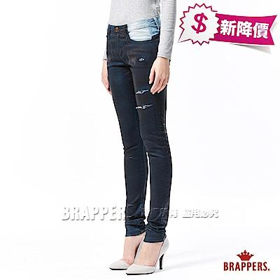 BRAPPERS 女款 新美腳ROYAL系列-中低腰彈性噴漆窄管褲-藍