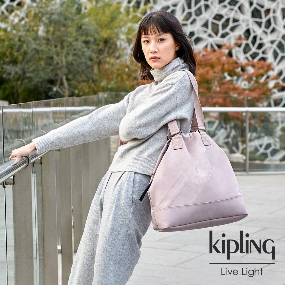 Kipling 奶茶裸粉色大容量束口肩背包-DEEPA