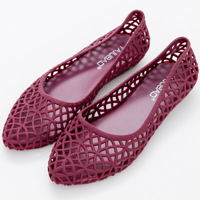 River&Moon雨鞋-韓版鳥巢洞洞尖頭防水膠鞋-紫