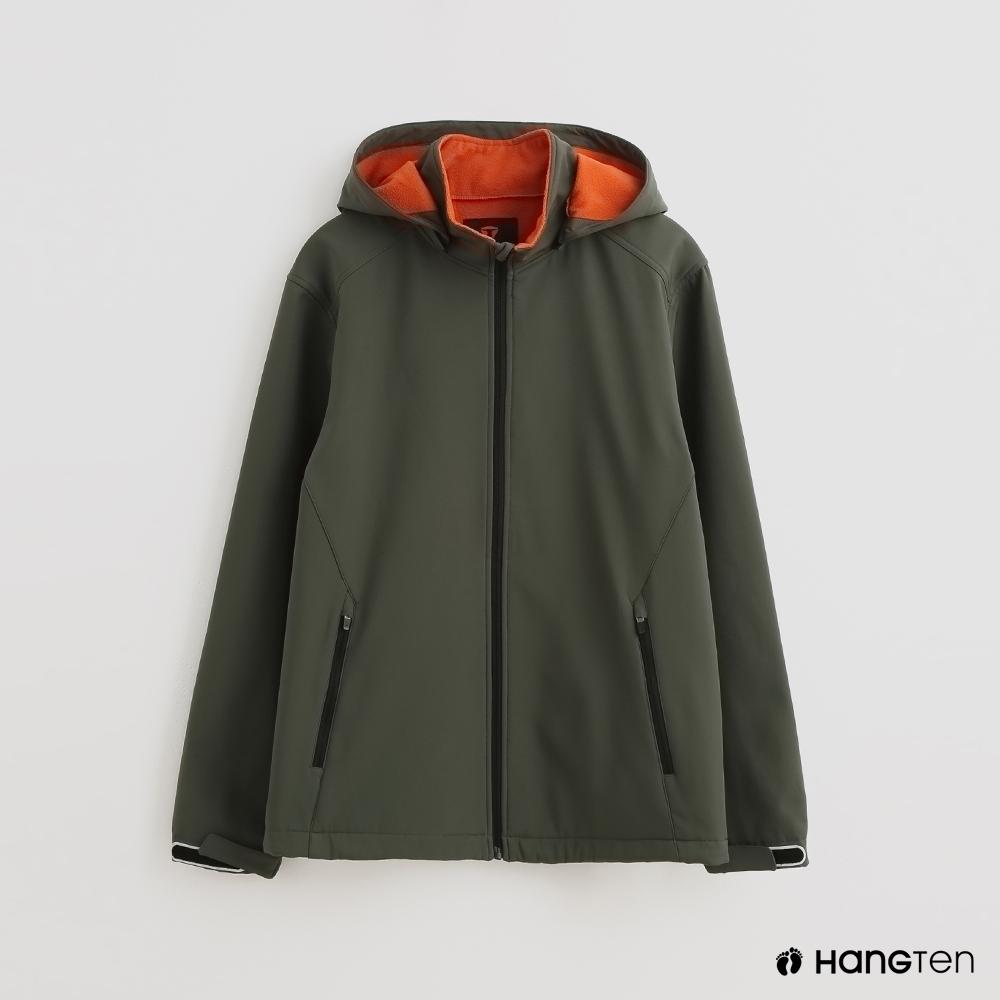 Hang Ten 男裝 ThermoContro-配色機能拉鍊刷毛外套-綠
