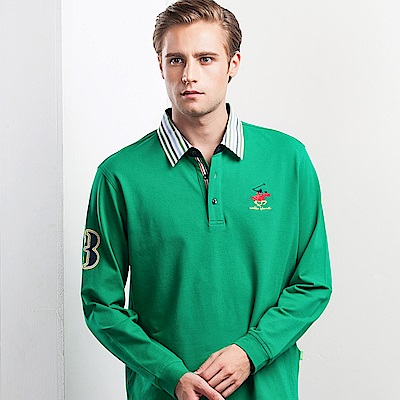 歐洲貴族oillio長袖POLO經典電繡多色方領綠色