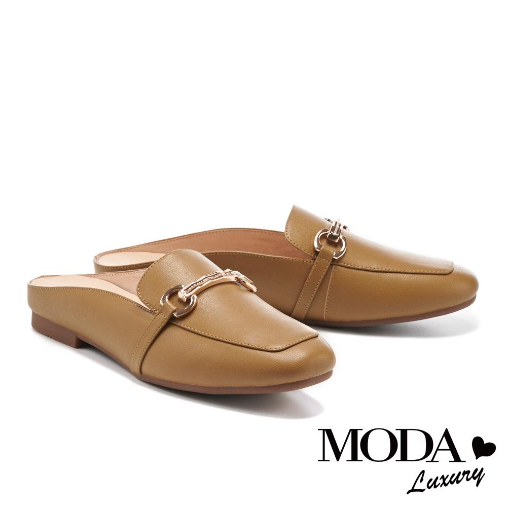 穆勒鞋 MODA Luxury 文青質感全真皮金釦方頭平底穆勒拖鞋-棕