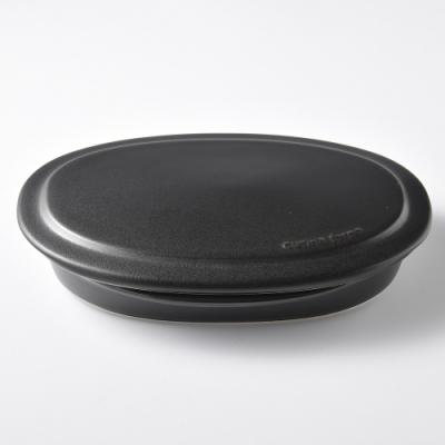 日本Tojiki Tonya萬古橢圓附蓋烤盤22.8cmx15cm-曜石黑