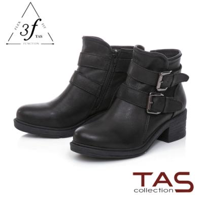 TAS復古擦色羊皮扣帶工程靴-個性黑