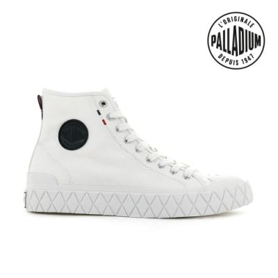 PALLADIUM PALLA ACE CVS MID格紋厚底高筒帆布鞋-中性-白