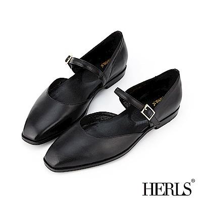 HERLS 全真皮復古小方頭瑪莉珍平底鞋-黑色
