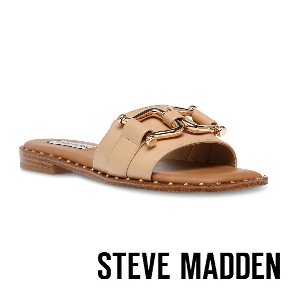 STEVE MADDEN-TREFOIL 飾釦平底涼拖鞋-奶茶色