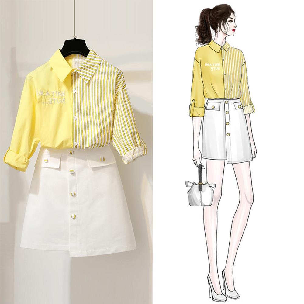 初色  拼接條紋襯衫+裙子兩件式套裝-共2色-(M-2XL可選)