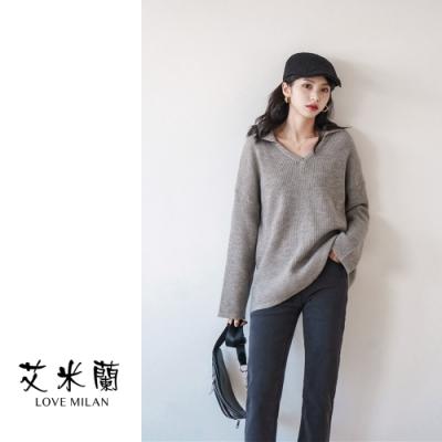 艾米蘭-簡約翻領素色毛衣-2色-F