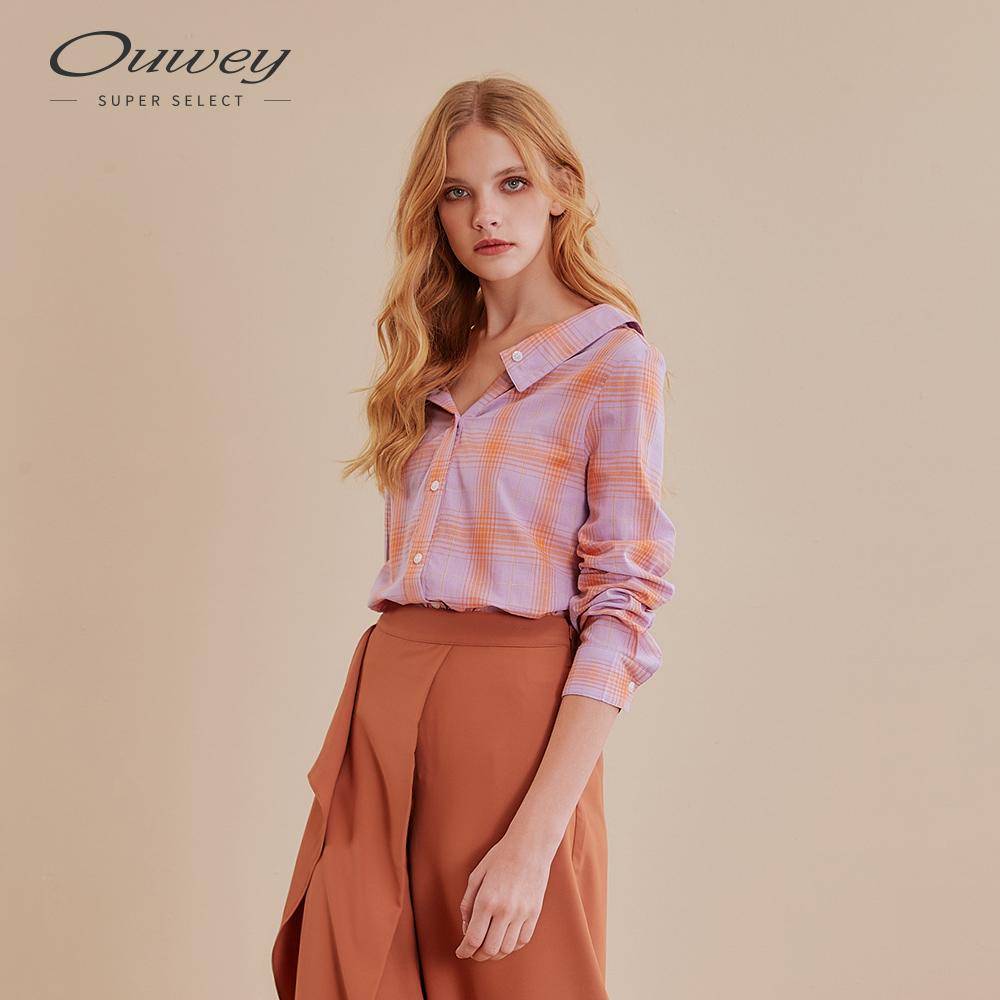 OUWEY歐薇 寬領甜美格紋襯衫(紫)