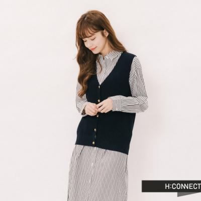H:CONNECT 韓國品牌 女裝 - V領排扣羅紋針織背心-藍