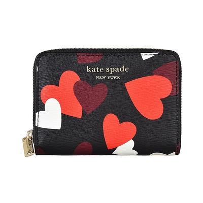 Kate Spade CELEBRATION HEARTS金字LOGO心型印花防刮牛皮6卡拉鍊錢包(黑x多色)