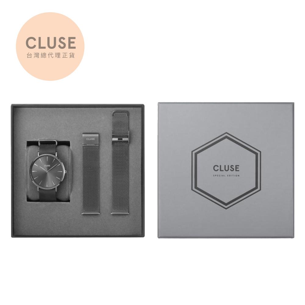 【公司貨】CLUSE La Tetragone 限量腕錶禮盒(深霧灰)