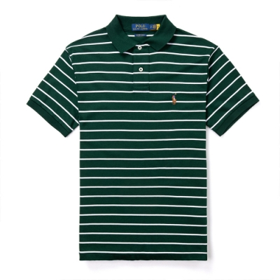 Polo Ralph Lauren 年度熱銷刺繡彩小馬吸濕排汗短袖POLO衫(CUSTOM SLIM)-墨綠條紋色