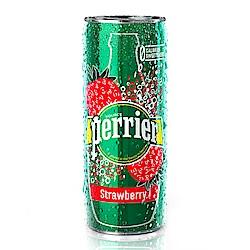 法國 沛綠雅Perrier 氣泡天然礦泉水-草莓風味 鋁罐(250ml x10入)