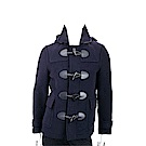 BURBERRY The Plymouth 男/女款 牛角釦海軍藍粗呢羊毛連帽大衣