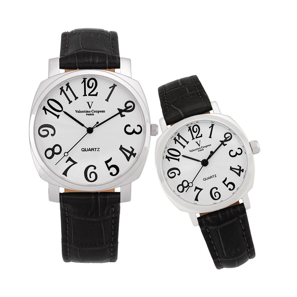 Valentino Coupeau 范倫鐵諾 古柏 萊茵對錶 銀殼 白面 黑皮帶
