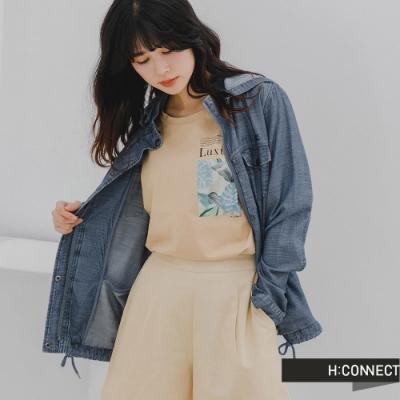 H:CONNECT 韓國品牌 女裝 -立體感牛仔連帽排扣外套-深藍色
