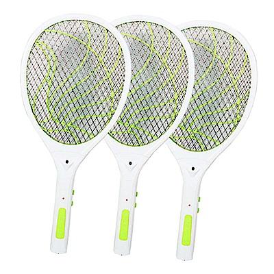 (3入組)KINYO 雙重充電式三層防觸電捕蚊拍電蚊拍(CM-2237)蚊蠅跑不掉