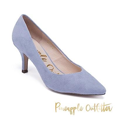Pineapple Outfitter 優雅美型 麂皮尖頭中跟鞋 淺藍色