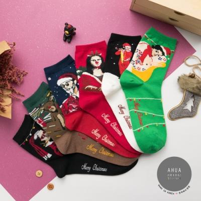 阿華有事嗎 韓國襪子 惡搞名畫聖誕中筒襪  韓妞必備少女襪