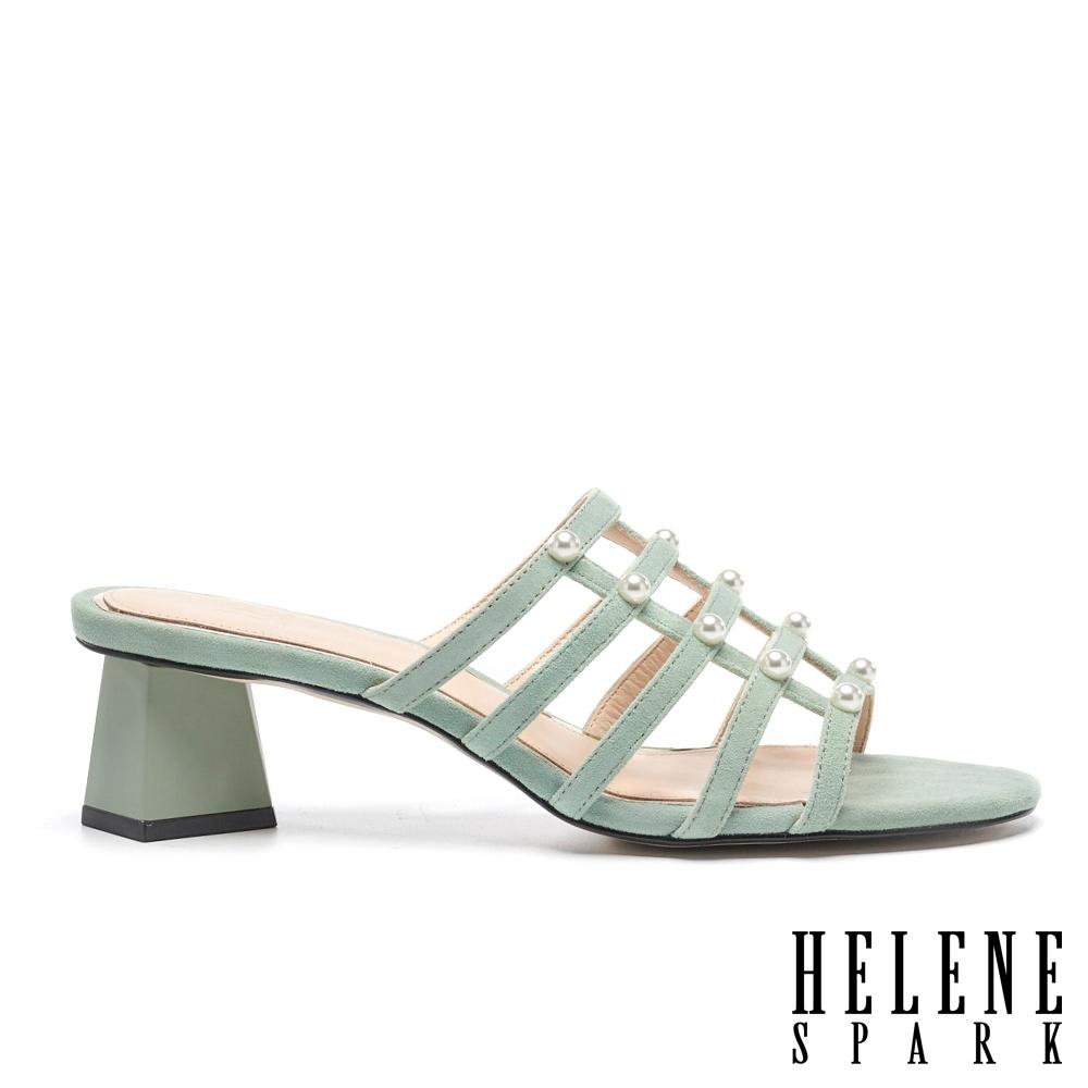 拖鞋 HELENE SPARK 高雅別致珍珠多繫帶羊麂皮高跟拖鞋-綠