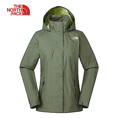 The North Face北面女款綠色防水透氣連帽衝鋒衣|3VPRZCE